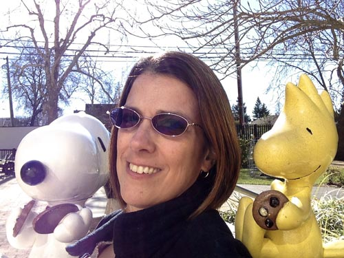 Susan Brkich with Snoopy and Woodstock